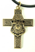 CBP Air and Marine Celtic Cross and Air Interdiction Agent Mini Badge Necklace in Antique Gold