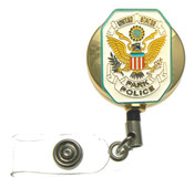 U.S. Park Police Patch Retractable ID Holder in a gold tone ID Reel