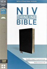 NIV (NEW INTERNATIONAL VERSION) BIBLE. Value Thinline, New Comfort Print . Black bonded leather cover. Words of Christ in red. With thumb index.