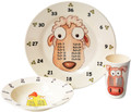 3 piece set for the Year 2, Age 6, age group, as recommended in the new National curriculum. The set contains 3 exquisite pieces: 25 cm plate, a 19cm bowl and an 11cm beaker, each featuring your choice of either the x3, x4 and x5 Times Table characters - 'theMultiples' - to help your family to learn their Times Tables in a low profile and fun way. Times tables are the key foundation stone towards a life long proficiency in Maths and natural affinity for numbers. High quality 100% melamine with glossy finish. Designed in UK. Dishwasher safe. Not for microwave (as with all melamine products). Delivery in 48 hours normally. The new National Curriculum guidelines: Early Years:        Age 6:               x3,    x4,    x5