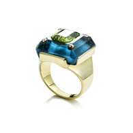 Peridot and Blue Topaz Ring