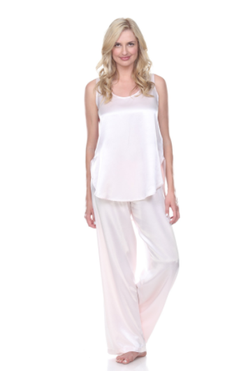 Jackie Satin Hi-Low Cami With Side Slits Pictured With Jolie Satin Pant