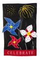Patriotic Pinwheel & Fireworks Garden Flag