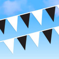 100' Black and White Pennants