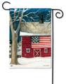 Winter Barn Garden Flag