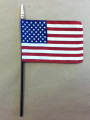 """4"""" X 6"""" U.S. Rayon Stick Flag With Golden Shined Spear Top"""