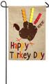 Happy Turkey Day Garden Burlap Flag