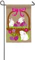 3 Bunnies in Egg Basket Garden Flag
