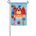 Birdhouse Welcome Linen Garden Flag
