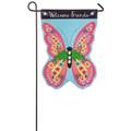 Butterfly Welcome Linen Garden Flag