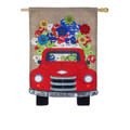 Red Truck Flowers Banner