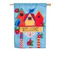 Birdhouse Welcome Linen Banner