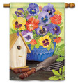 Pretty Pansies and Birdhouse