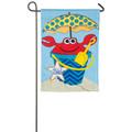 Crabby Summer Burlap Garden Flag