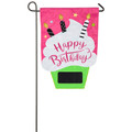 Birthday Cupcake Applique Garden Flag