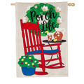 Rocking Chair Porch Life Linen Banner