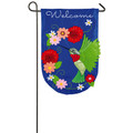Hummingbird House Applique Garden Flag
