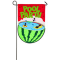 Watermelon Pool Party Applique Garden Flag