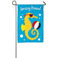 Horsing Around Seahorse Applique Garden Flag