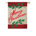 Merry Christmas Plaid Burlap Banner