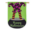Witchie Trouble Burlap Banner