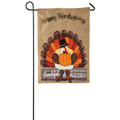 Thankful and Blessed Turkey Burlap Garden Flag