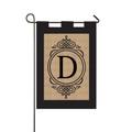 "Burlap Monogram ""D"" Garden Flag"
