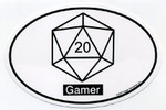 Gamer D20 Euro Oval car decal (STICKER)