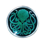 Aged Pewter Cthulhu Pin with green epoxy fill