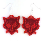 Cats of Ulthar red mirrored acrylic earrings