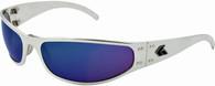 Gatorz Radiator Wrap-around sunglasses Polished Aluminum frame with Blue Chrome lenses