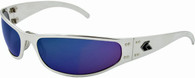 Gatorz Radiator Wrap-around sunglasses Polished Aluminum frame with Blue Chrome lenses