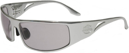 OutLaw Eyewear Fugitive Military and Motorcycle aluminum sunglasses, Polished Aluminum frame with Extra Dark Transition Day-night lenses