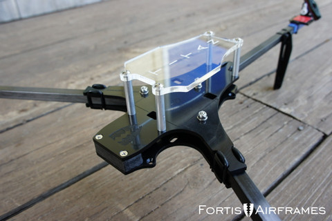 TITAN tricopter frame shown with optional carbon fiber booms