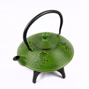 Large Cast Iron Tea Pot with Stand, 1.15L, Green