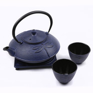 Large Cast Iron Tea Pot Set with Stand and 2 Cups, 0.8L, Blue