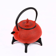 Large Cast Iron Tea Pot with Stand, 1.2L, Red