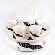 Ceramic Tea Set With Tray - 1
