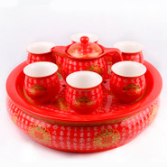 Ceramic Tea Set With Tray - 2