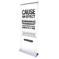 "33"" Retractable Roll Up Premium Banner Stand with Print"