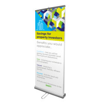 "33"" Double Sided Retractable Roll Up Banner Stand with 2 Prints"