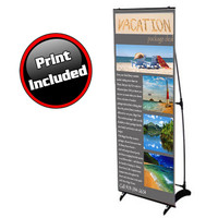 H banner stand with print