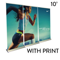 10' Roll Up Banner Stand Wall - Premium Trade Show Backdrop
