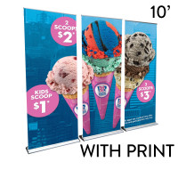 10' Roll Up Banner Stand Wall - Professional Trade Show Backdrop
