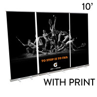 10' Roll Up Banner Stand Wall - Economy Plus Trade Show Backdrop