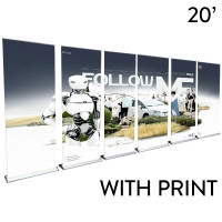 20' Roll Up Banner Stand Wall - Professional Trade Show Backdrop