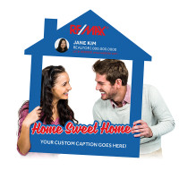 "Custom Printed Selfie Frame for Real Estate Social Media Marketing - ""Home Sweet Home!"" House Cutout"