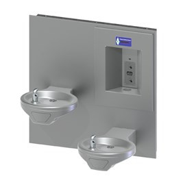 Oval Bowl Barrier-Free Wall Mount Bi-Level Drinking Fountain with Sensor Activated Bottle Filler