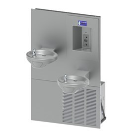 Oval Bowl Chilled Barrier-Free Wall Mount Bi-Level Drinking Fountain with Sensor Activated Bottle Filler