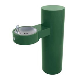 Barrier-Free Round Stainless Steel Pedestal Drinking Fountain